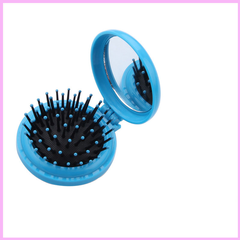 1 Piece Mini Round Folding Comb With Mirror Girls Travel Hair Brush Tool