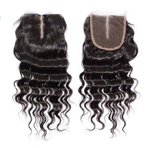 "10""-20"" Middle Part Brazilian Virgin Hair Deep Wave Lace Closure(4""*4"") Natural Color"