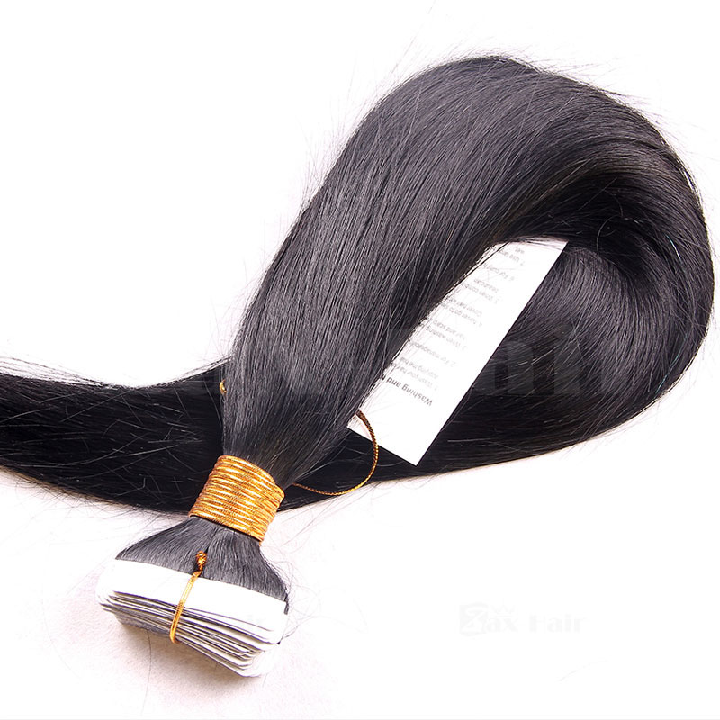 10 - 30 Inch Brazilian Remy Tape  In Hair Extensions #1B Natural Black Straight 20 Pcs 4
