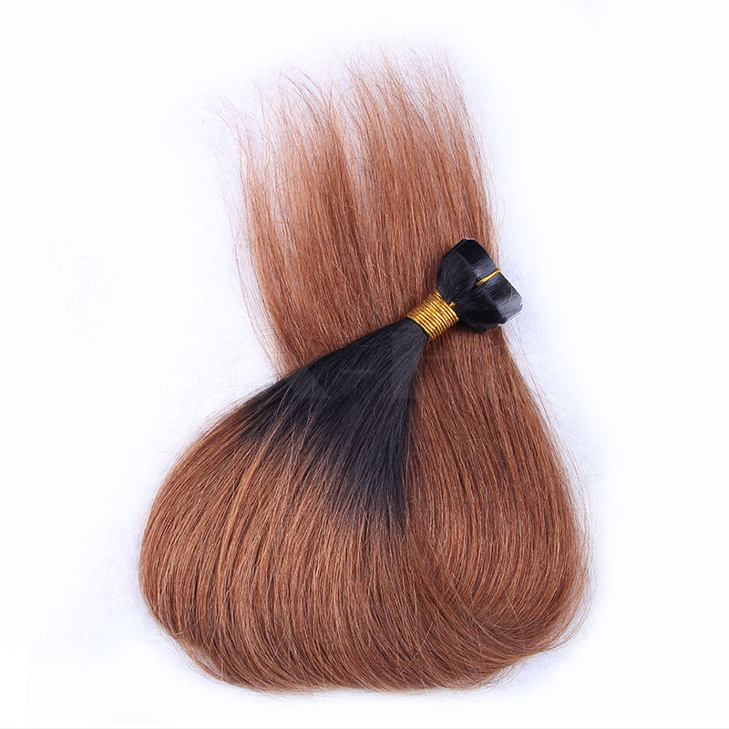 10 - 30 Inch Ombre Tape In Remy Human Hair Extensions Two Tone #1B/#30 Straight 20 Pcs