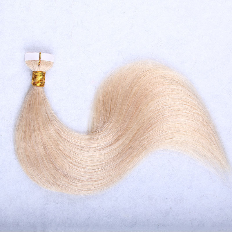 10 - 30 Inch Tape In Remy Human Hair Extensions #613 Bleach Blonde Straight 20 Pcs