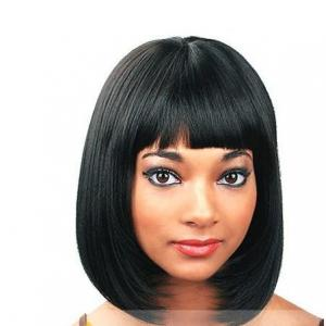 10 inch perfect short straight black full bang african