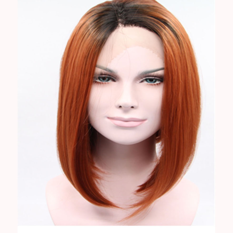12 Inch Glueless Ombre Brown Bob Synthetic Lace Front Wig