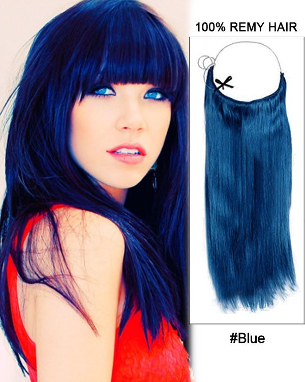 14 - 32 Inch Straight Flip In Hair Extensions Blue