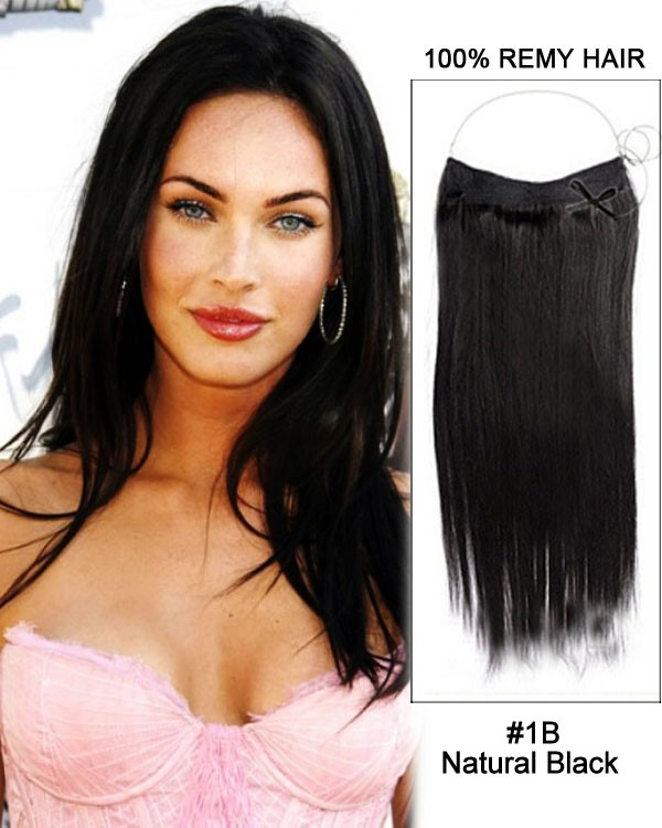 14 - 32 Inch Straight Secret Human Hair Extensions #1B Natural Black