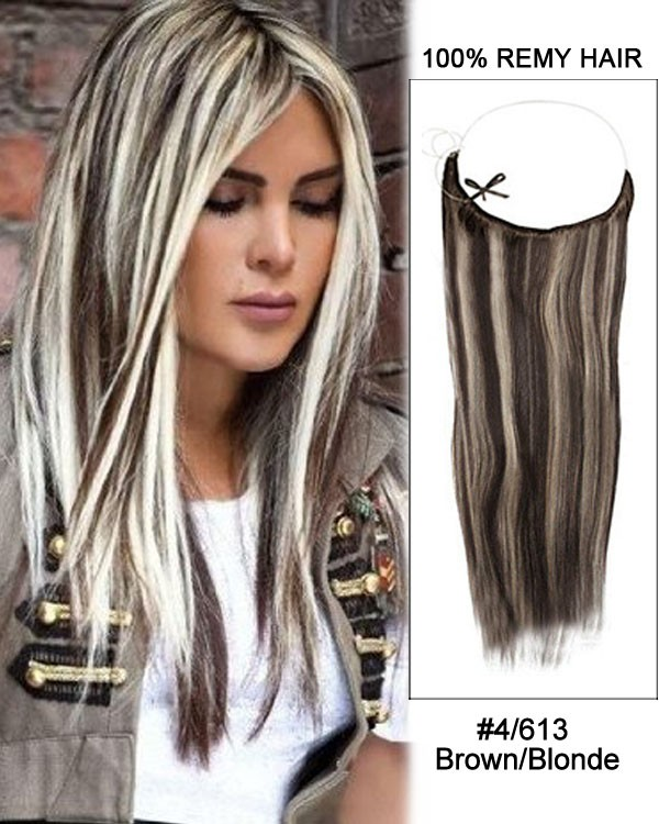 14 - 32 Inch Straight Secret Human Hair Extensions #4/613 Brown Blonde