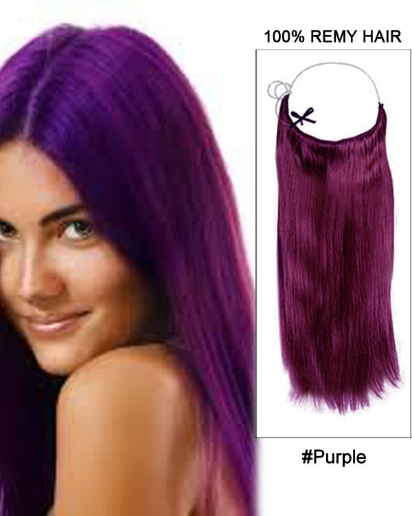 14 - 32 Inch Straight Secret Human Hair Extensions Purple