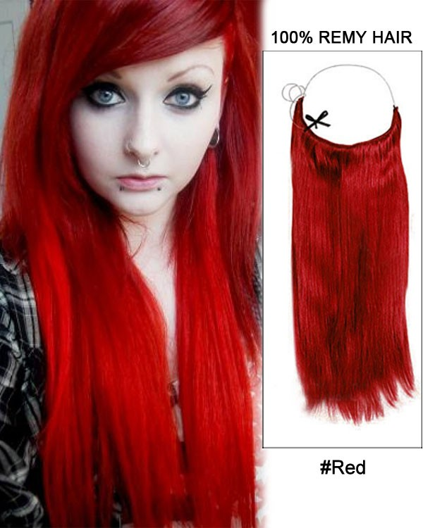 14 - 32 Inch Straight Secret Human Hair Extensions Red