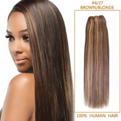 14 Inch #4/27 Brown/Blonde Straight Brazilian Virgin Hair Wefts