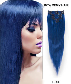 15 Inch Blue Clip In Human Hair Extensions 7pcs