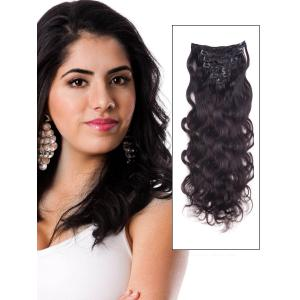 16 Inch #1B Natural Black Fine Clip In Remy Hair Extensions Body Wave 7 Pcs