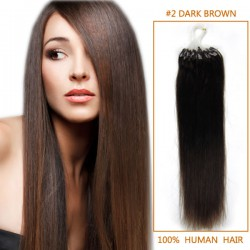 16 Inch #2 Dark Brown Micro Loop Human Hair Extensions 100S