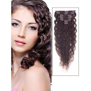 16 Inch #2 Dark Brown Unobvious Clip In Indian Hair Extensions Loose Wavy 7 Pcs
