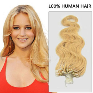 16 Inch #27/613 Body Wave Practical Micro Loop Hair Extensions 100 Strands Set