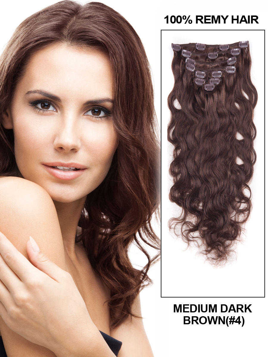 16 Inch #4 Medium Brown Clip In Indian Remy Human Hair Extensions Fascinating Body Wave 7 Pcs
