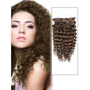 16 Inch #8 Ash Brown Unusual Clip In Hair Extensions Curly 7 Pieces