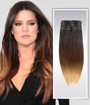 16 Inch Bright Ombre Clip In Indian Remy Hair Extensions Straight 9pcs