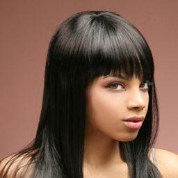 16 Inch Unexceptionable Medium 100% Indian Human Hair Lace Front Cap Full Bang Straight Wigs