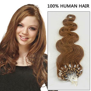 18 Inch #8 Ash Brown Body Wave Micro Loop Hair Extensions in Good Quality 100 Strands