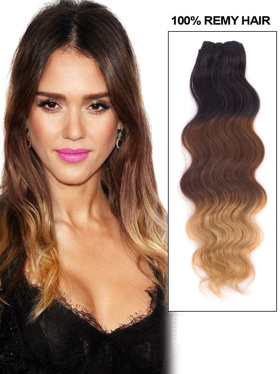 Black ombre clip in indian remy human hair extensions body wave 9pcs
