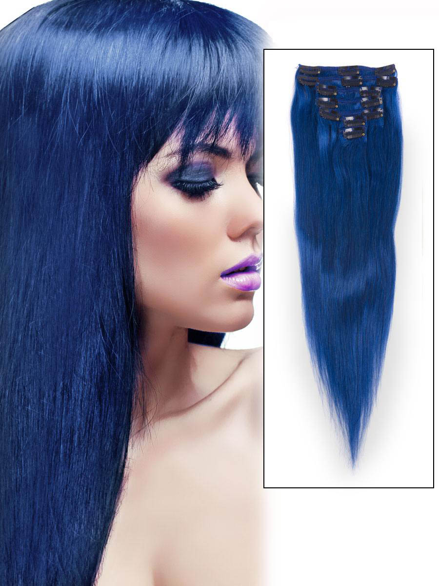 Blue Hair Extension Clips 12