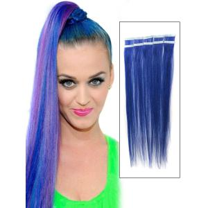 18 Inch Blue Simple Tape In Hair Extensions Straight 10pcs