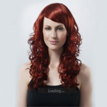 18 Inch Curly Long Synthetic Hair Wigs Brownish Red