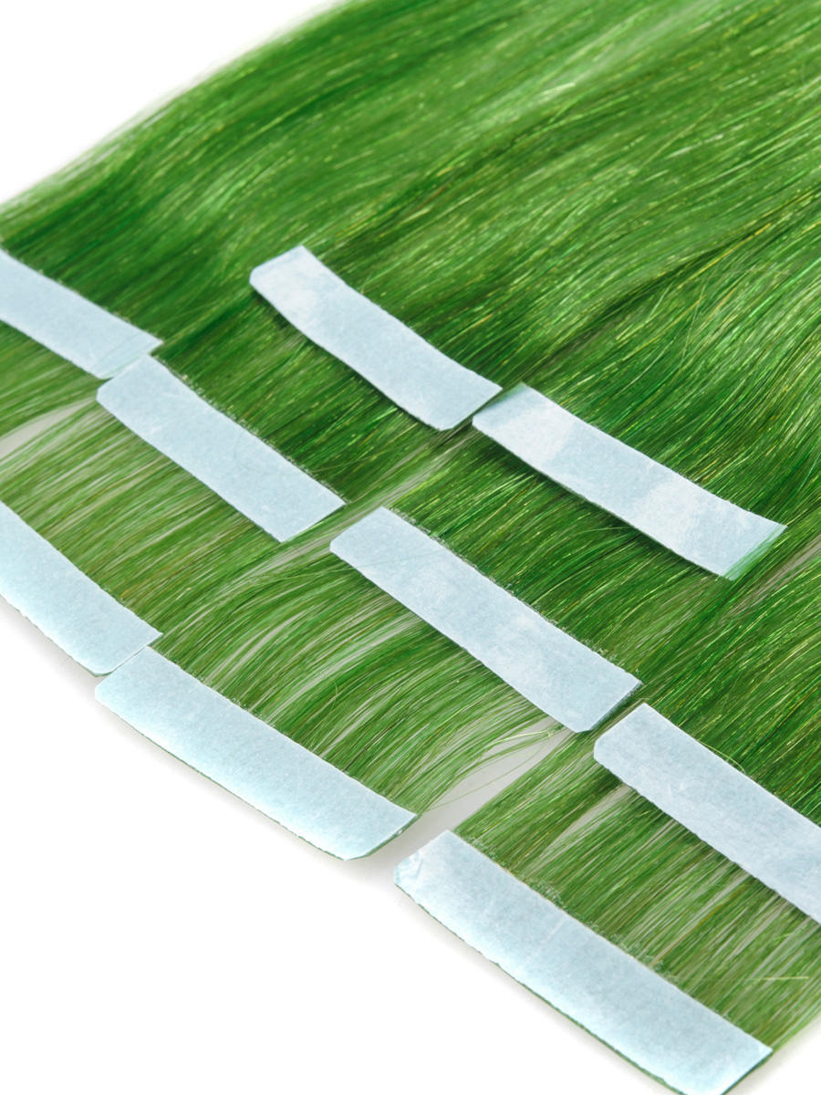 18 Inch Green Light Tape In Hair Extensions Straight 10pcs no 2