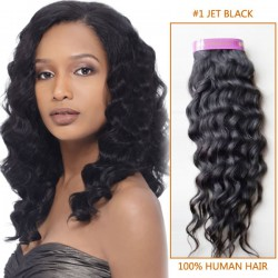 20 Inch #1 Jet Black Curly Brazilian Virgin Hair Wefts