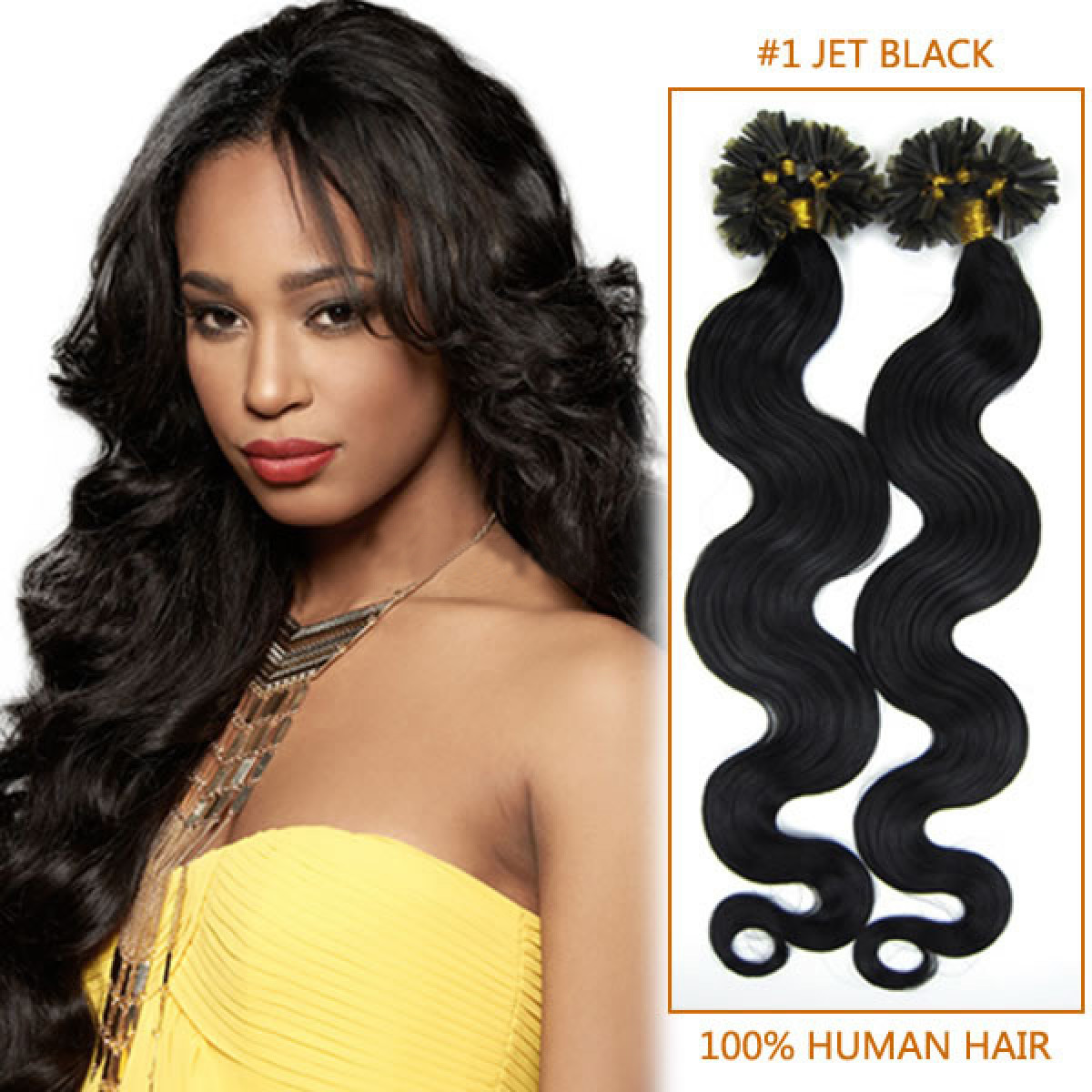20 Inch #1 Jet Black Wavy Nail Tip Human Hair Extensions 100S ...