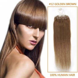 20 Inch #12 Golden Brown Micro Loop Human Hair Extensions 100S