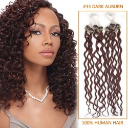 20 Inch #33 Dark Auburn Curly Micro Loop Human Hair Extensions 100S 100g