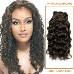20 Inch #4 Medium Brown Curly Brazilian Virgin Hair Wefts
