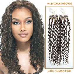 20 Inch #4 Medium Brown Curly Micro Loop Human Hair Extensions 100S