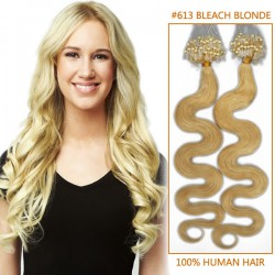 20 Inch #613 Bleach BlondeWavy Micro Loop Human Hair Extensions 100S