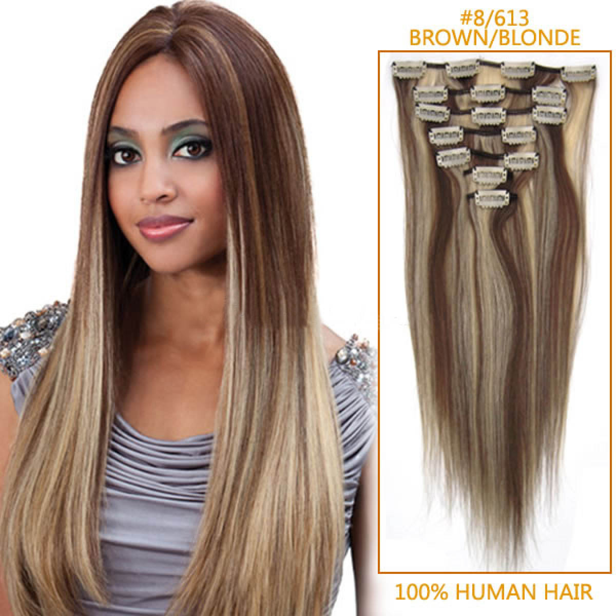 20 Inch #8/613 Brown/Blonde Clip In Remy Human Hair Extensions 9pcs no ...