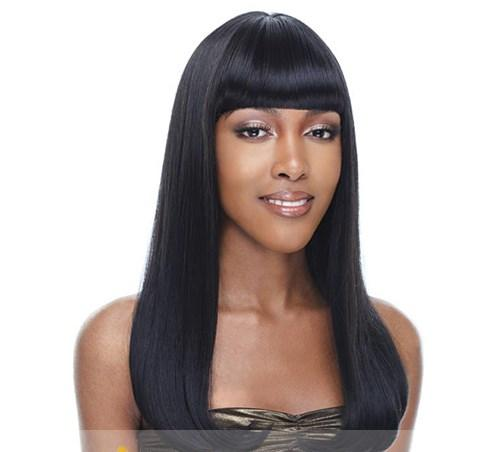 Long Straight Wigs with Bangs for Black Women