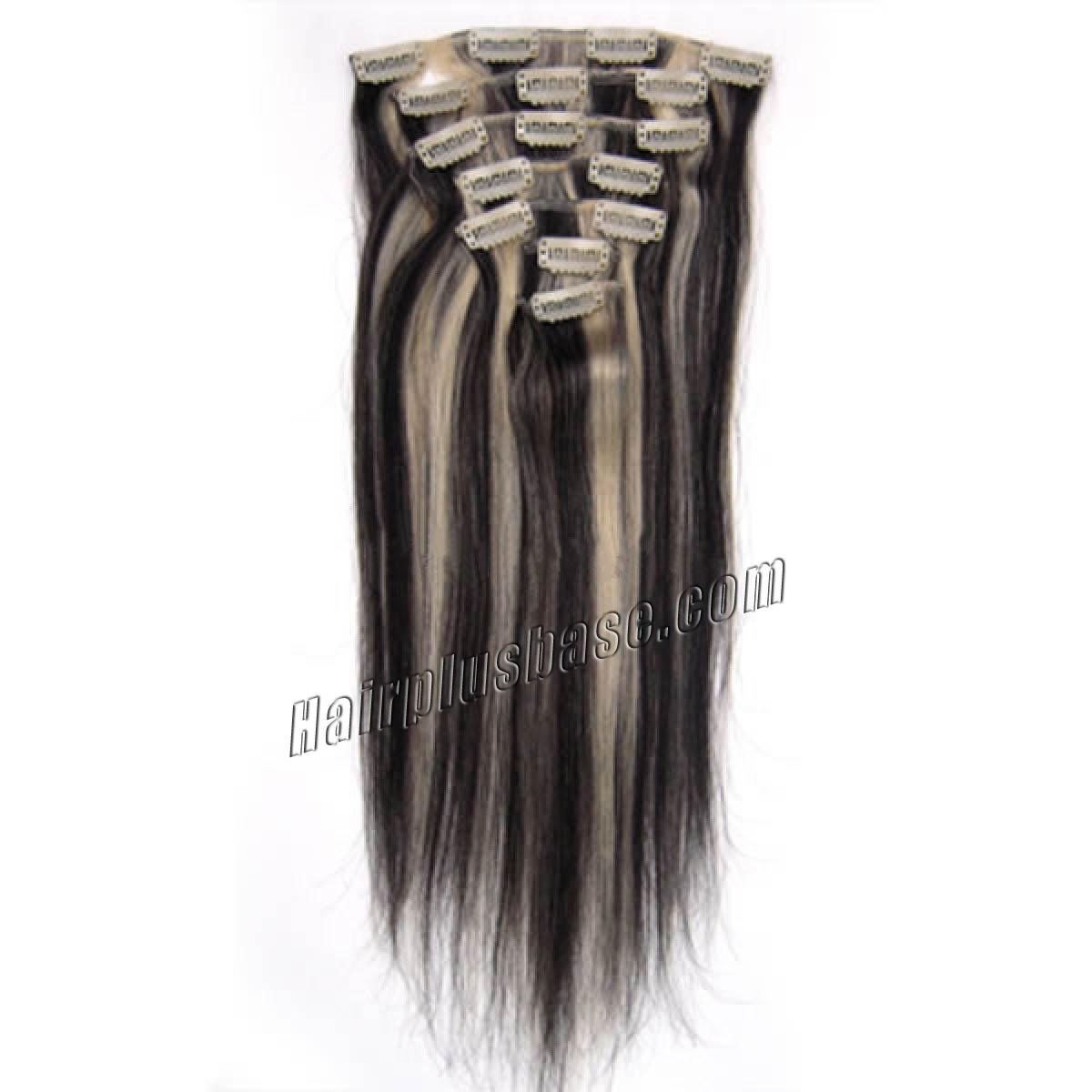 22 inch 1b613 clip in human hair extensions 10pcs