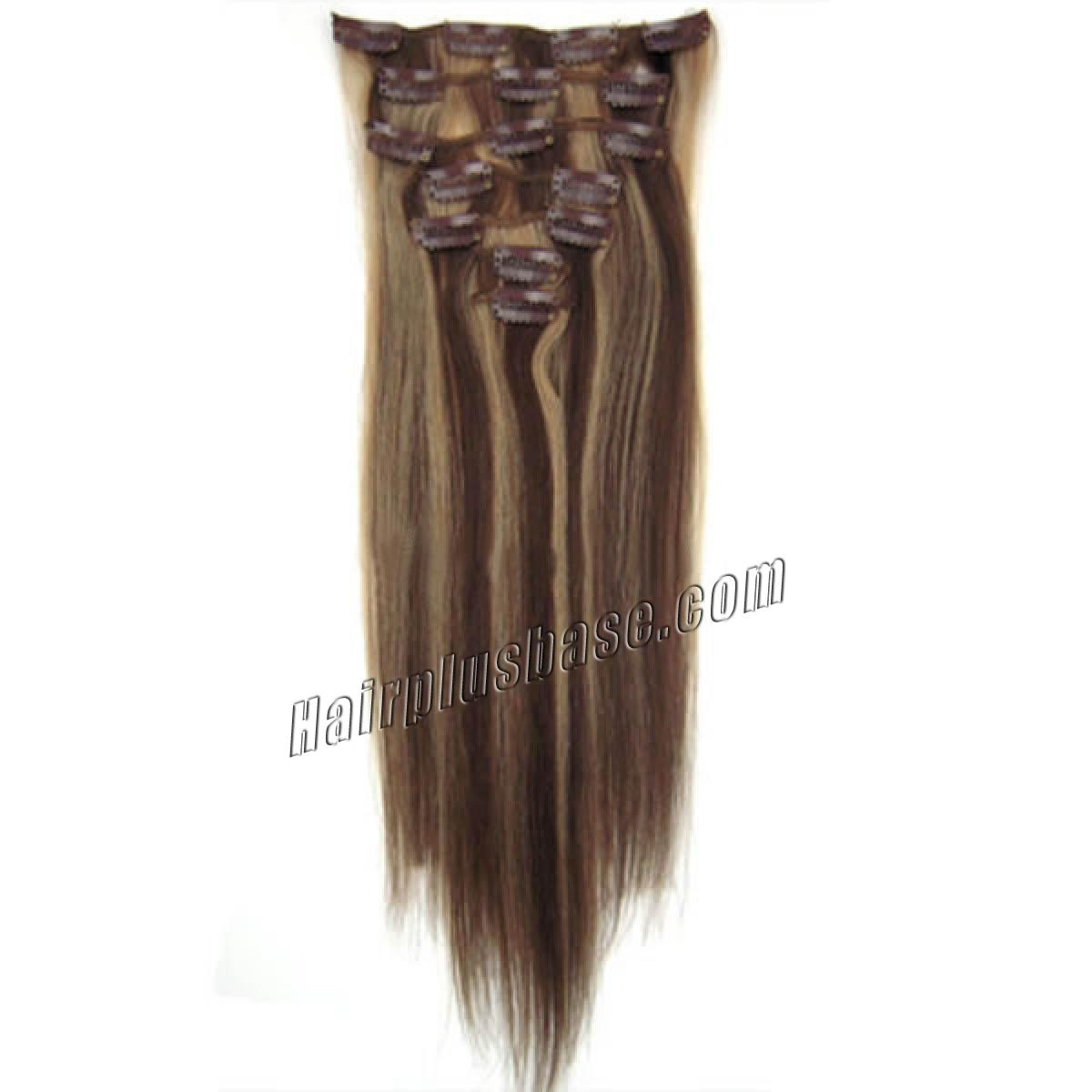 22 inch 427 brownblonde clip in human hair extensions 10pcs