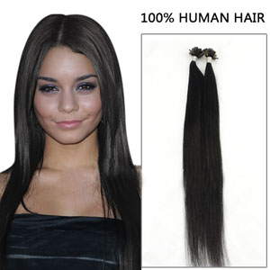 24 Inch 100s Captivating Straight Nail/U Tip Human Hair Extensions #1 Jet Black 50g