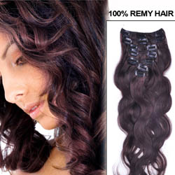 24 Inch #2 Dark Brown Clip In Human Hair Extensions Body Wave 11 Pcs