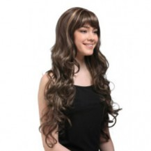 24 inch wavy long synthetic hair wigs ash brown highlight