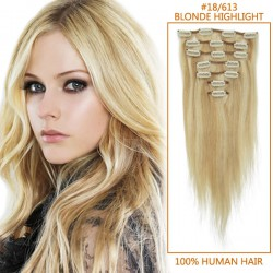 28 Inch #18/613 Blonde Highlight Clip In Human Hair Extensions 8pcs