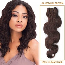 30 Inch #4 Medium Brown Body Wave Brazilian Virgin Hair Wefts