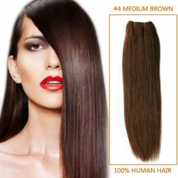 30 Inch #4 Medium Brown Straight Brazilian Virgin Hair Wefts