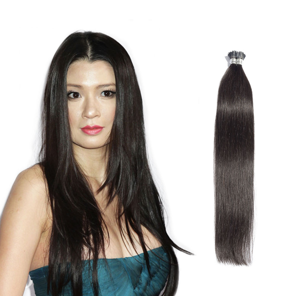 6 - 30 Inch #1B Natural Black Stick I Tip Straight Real Human Hair Extensions 100S