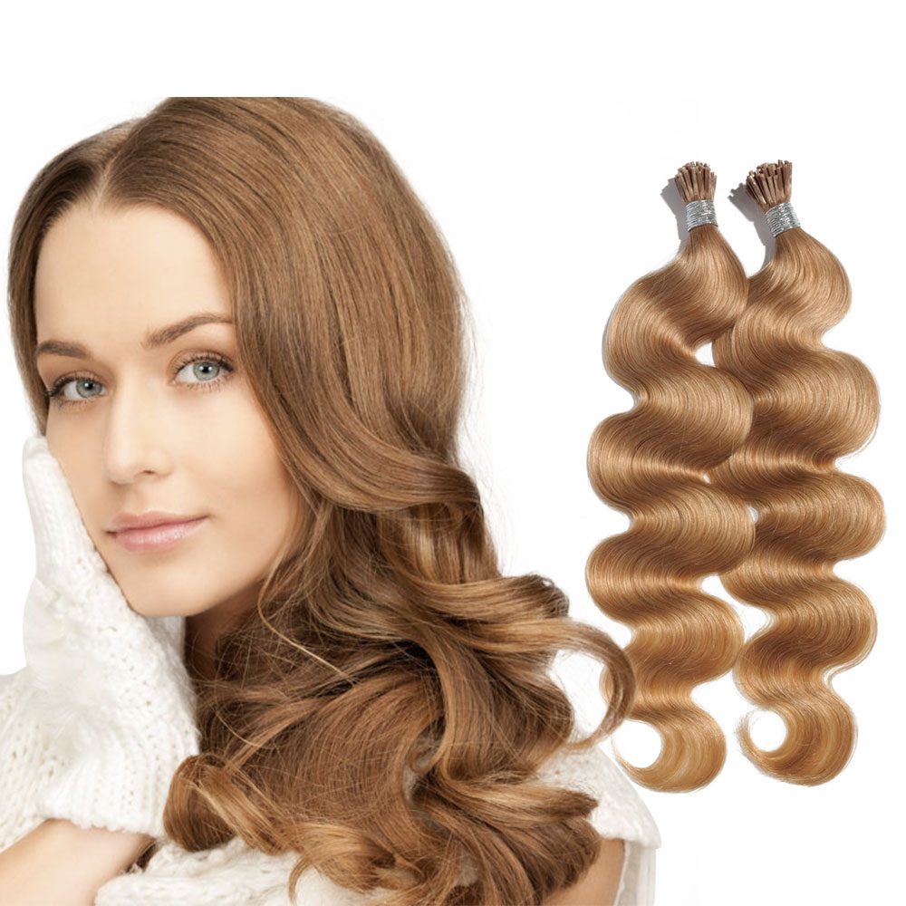 6 - 30 Inch #27 Strawberry Blonde Stick I Tip Body Wave Real Human Hair Extensions 100S