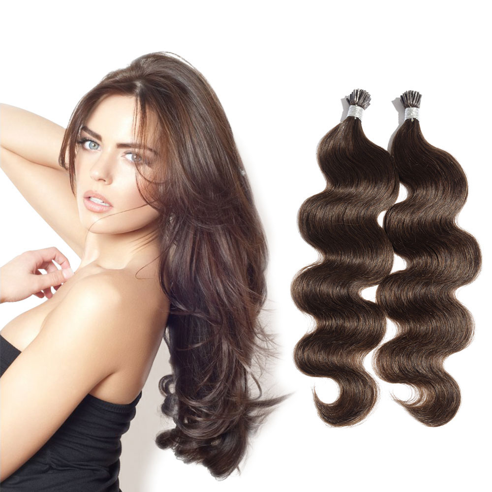 6 - 30 Inch #4 Medium Brown Stick I Tip Body Wave Real Human Hair Extensions 100S