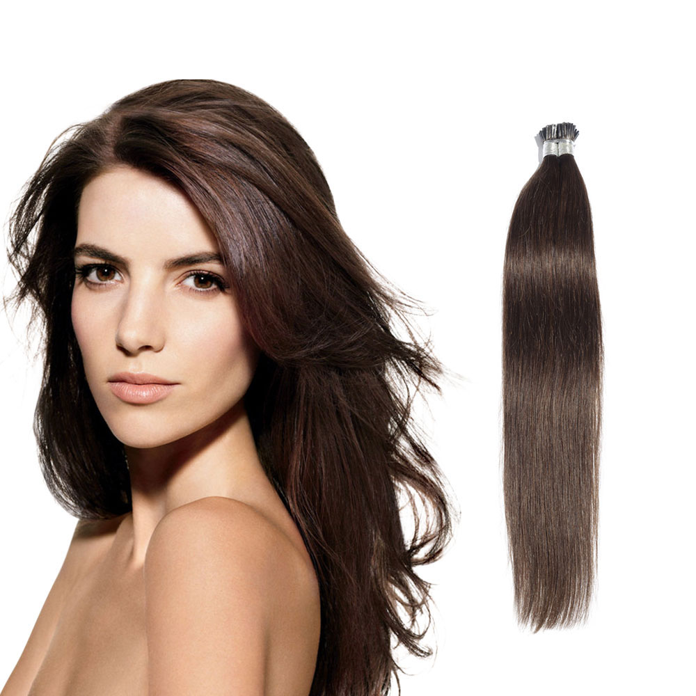 6 - 30 Inch #4 Medium Brown Stick I Tip Straight Real Human Hair Extensions 100S