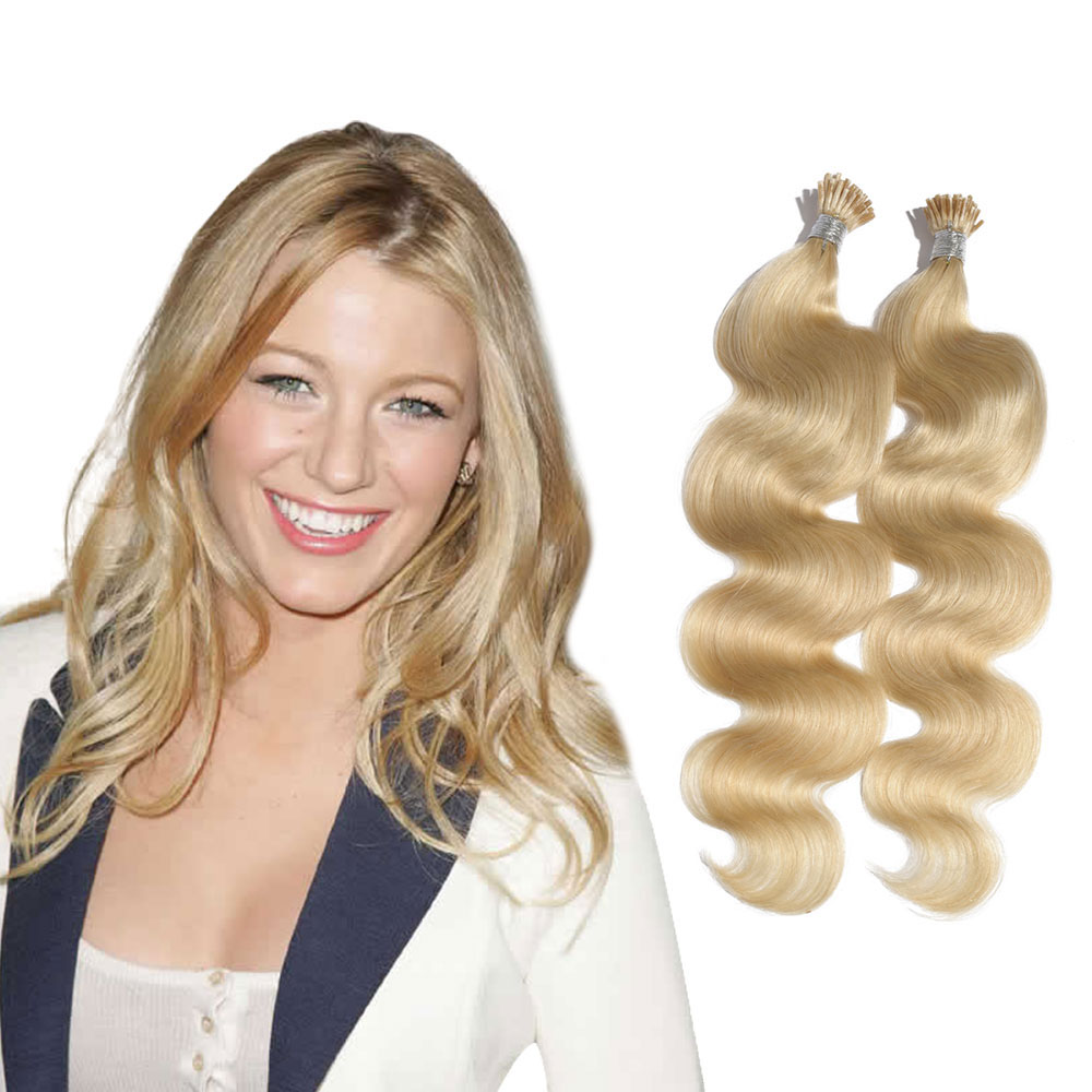 6 - 30 Inch #613 Bleach Blonde Stick I Tip Body Wave Real Human Hair Extensions 100S